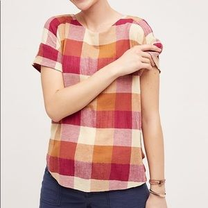 Anthro Isabella Sinclair Posy Plaid S Blouse Fall